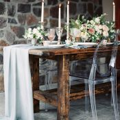 Rugged Romance Reception with a Farm Table and Ghost Chairs