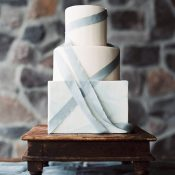 Marbled Wedding Cake with Modern Ribbon Accents