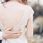 Floral Embroidered Wedding Dress with a Low Back and Flutter Sleeves