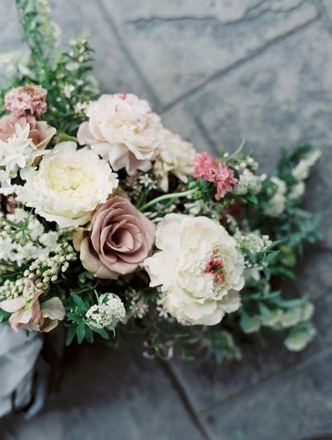 Mauve and White Bouquet with Spring Flowers