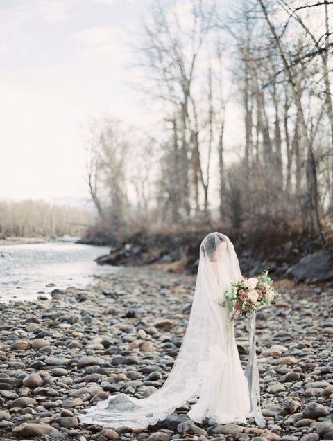 Fine Art Bridal Photos on a River in Montana