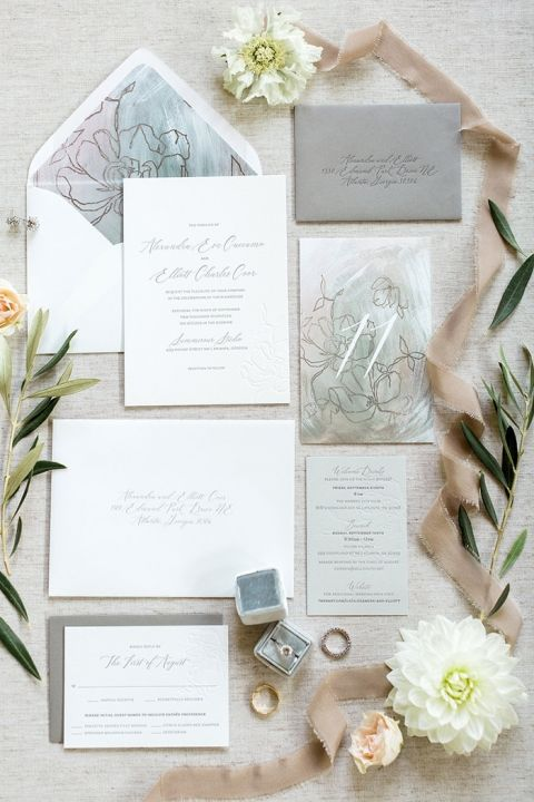 Neutral Wedding Invitation Suite Inspired by a Custom Floral Illustration