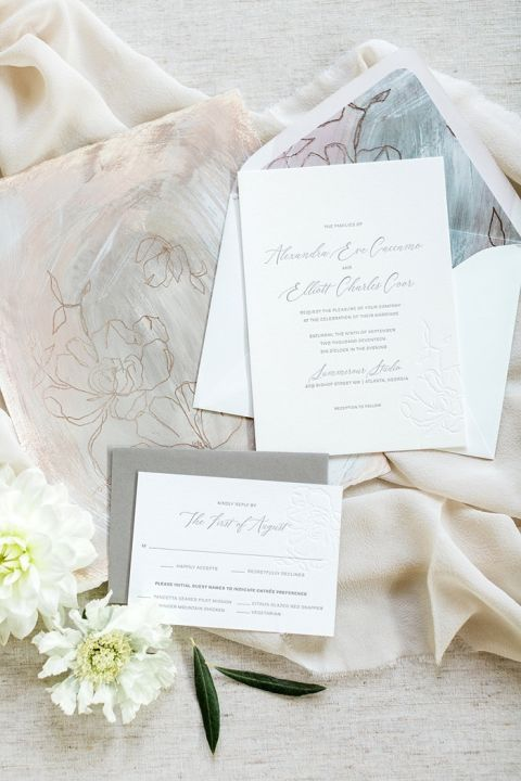 Subtle Wedding Colors with Illustrated Floral Details