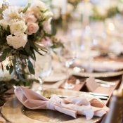 Blush and Gold Wedding Decor with Modern Greenery Accents