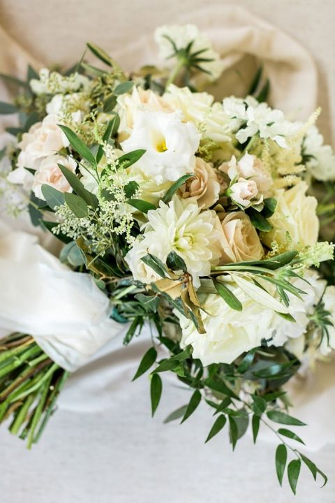 Organic Peach and White Bouquet with Modern Greenery