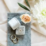 Beautiful Engagement Ring Vignette with the Bride's Flowers