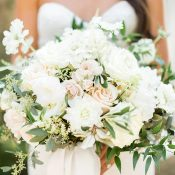 White and Peach Bridal Bouquet with Greenery Accents