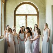 Neutral Mismatched Bridesmaid Dresses for an Intimate Wedding Moment