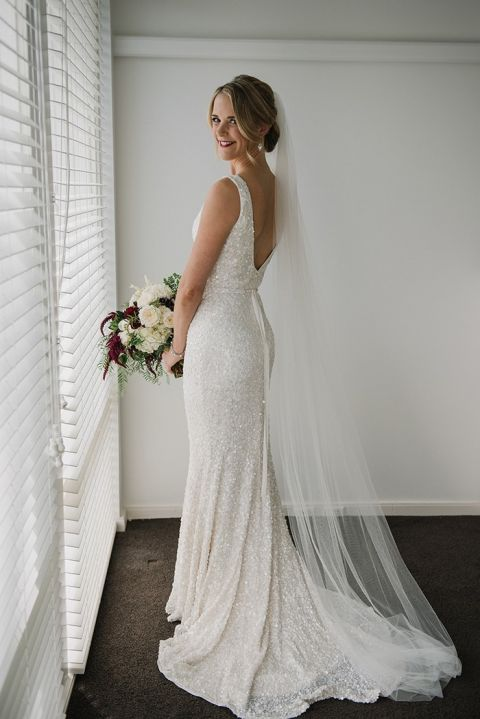 Modern Glam Sequin Wedding Dress for a Real Bride