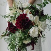 Jewel Tone Greenery Bridal Bouquet with Burgundy and Amethyst Flowers
