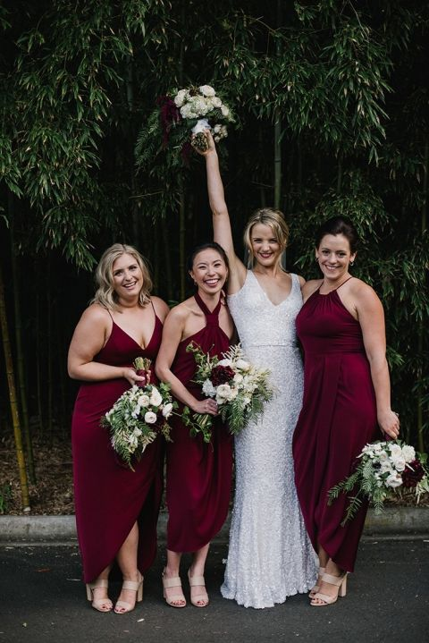 Individual Burgundy Dresses for Mismatched Bridesmaids with Modern Chic Style