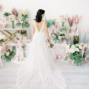 Elegant Modern Wedding Dress with a Romantic Floral Backdrop