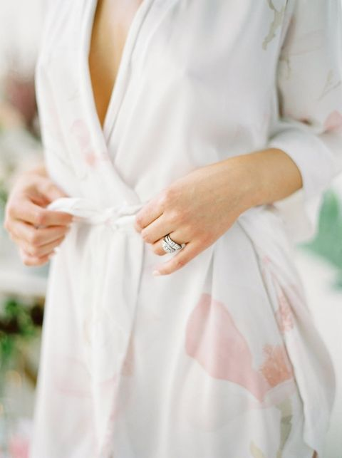 Bride Getting Ready in a Floral Print Robe