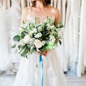 Natural Greenery Bouquet with Blue Silk Ribbons