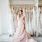 Blush Pink Floral Appliqué Wedding Dress