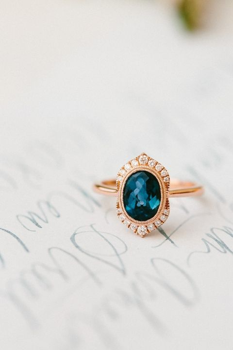 Rose Gold and Sapphire Engagement Ring with Vintage Style