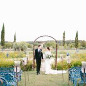 Wedding Ceremony with Blue Lattice Chairs