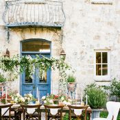 French Inspired Wedding Reception with a Hanging Greenery CenterpieceAΩ´∑