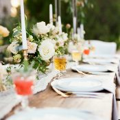 Farm Table Wedding with Colorful Craft Cocktails and Summer Flowers