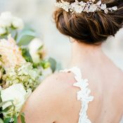 Elegant Bridal Hairstyle with a Low Back Wedding Dress