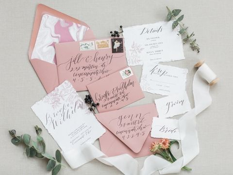 Mauve and Black Hand Lettered Wedding Invitations with Floral Print