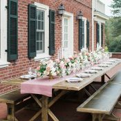 Classic Farm Table Wedding Reception with Brick and Blush Decor