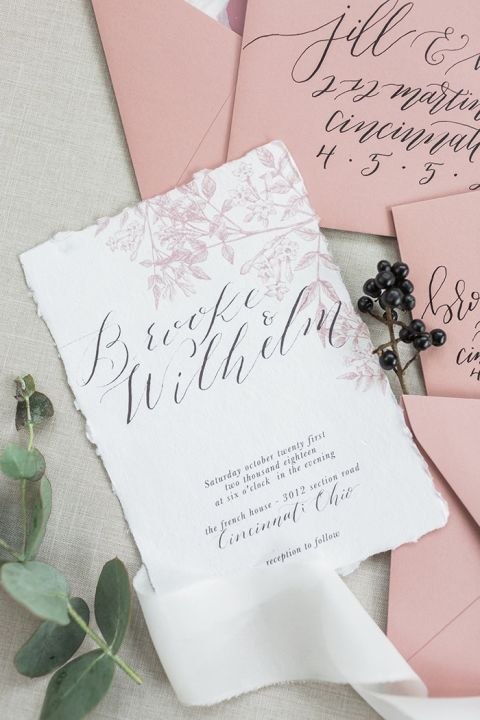 Spring Floral Invitations in Mauve and Black