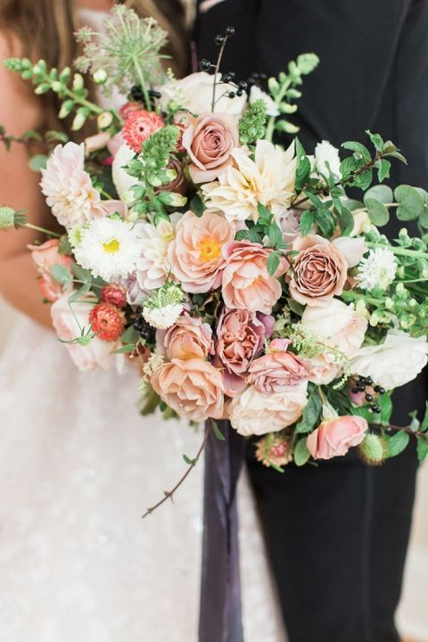 Blush And Mauve Wedding Inspiration In A Rainy Garden