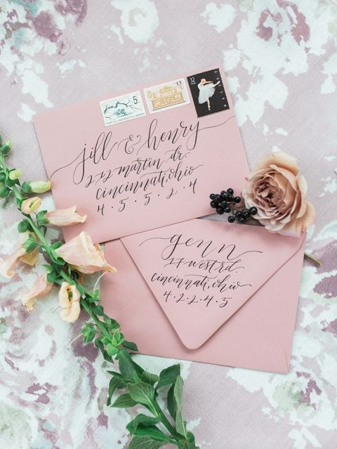 Abstract Floral Print for a Modern Mauve Wedding Invitation