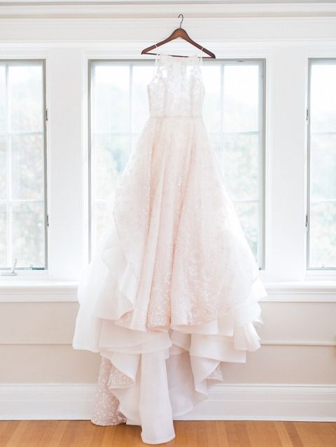 Blush Sparkle and Floral Wedding Dress
