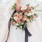 Mauve and Blush Pink Bridal Bouquet with Spring Flowers