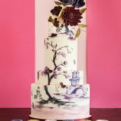 Hand Painted Wedding Cake with a Sugar Flower Topper