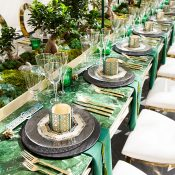 Jade and Gold Bonsai Inspired Tablescape