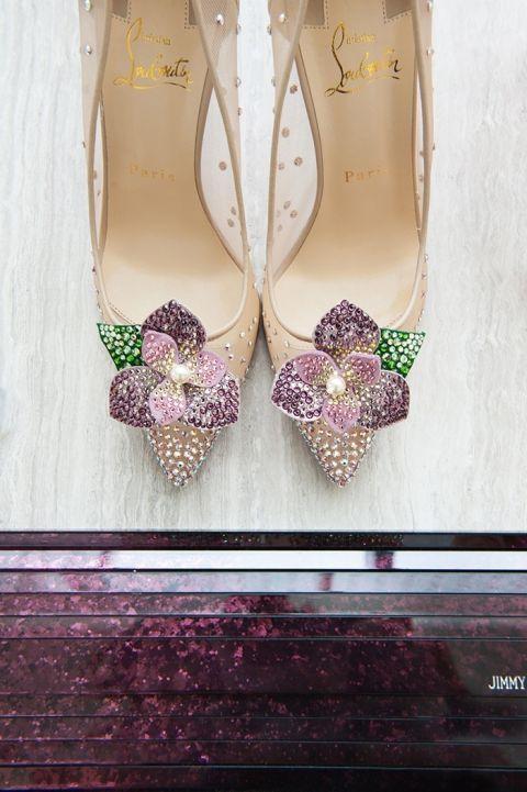 Crystal Flower Louboutin Wedding Shoes