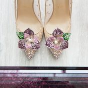 Crystal Flower Louboutin Wedding Shoes