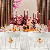Colorful Plum and Peach Luxe Wedding Reception with Chinese Style