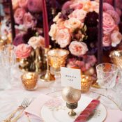 Elegant Asian Wedding Place Setting with Pink and Purple Flowers