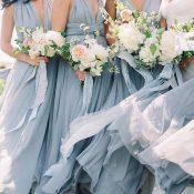 Elegant Bohemian Bridal Party with Blue Bridesmaid Dresses