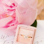Timeless Engagement Ring with Pink Peonies