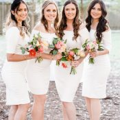 Bridesmaids in White Dresses with Colorful Summer Bouquets
