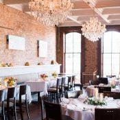 Modern Brick and Chandelier Restaurant Wedding Reception