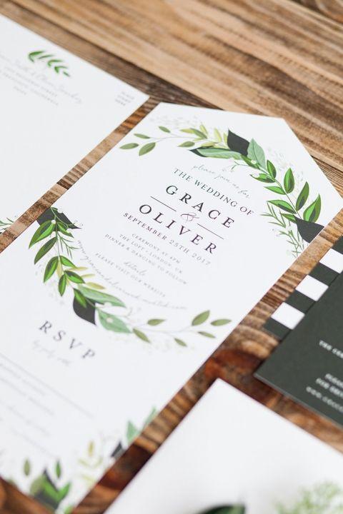 Modern Greenery Wreath Wedding Invitations