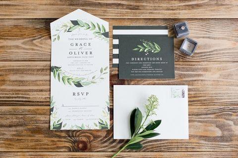 Black and Greenery Wedding Stationery