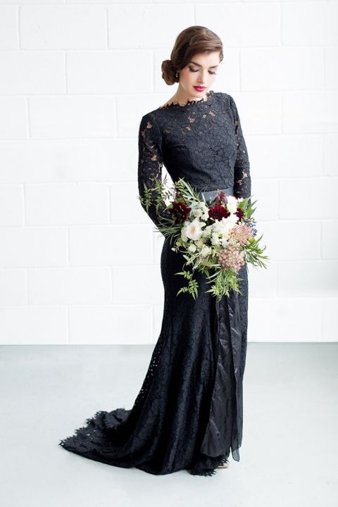 Long Sleeve Black Lace Dress with Modern Flowers