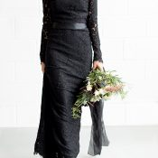 Chic Black Lace Dress with Long Sleeves