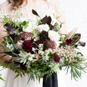 Moody Burgundy Bridal Bouquet with Greenery