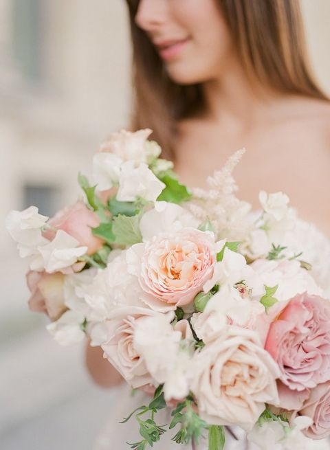 Peach and Mauve Spring Bridal Bouquet