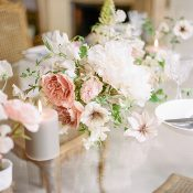 Mauve and Ivory Peony Centerpiece for an Intimate French Elopement