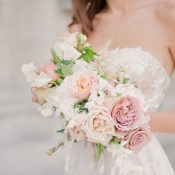 Floral Lace Wedding Dress with a Spring Garden Bouquet