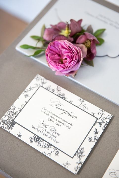 Black and White Floral Print Invitations with Purple Flowers
